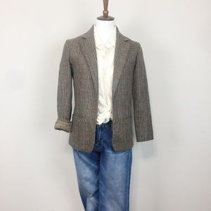 Vintage checked 100% wool lined blazer | size 6
